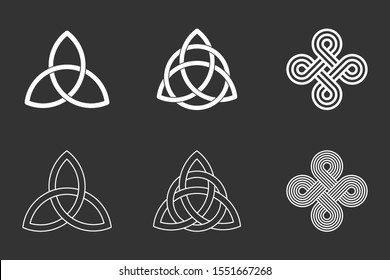 Celtic knots set on black background. Triquetra, trinity knot with circle, endless loop. Ancient ornaments symbolizing eternity. Trefoil interconnected lines. Infinite knots. Vector illustration.