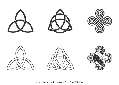 Celtic knots set on white background. Triquetra, trinity knot with circle, endless loop. Ancient ornaments symbolizing eternity. Trefoil interconnected lines. Infinite knots. Vector illustration.