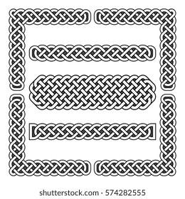 Celtic knots vector medieval borders and corner elements. Corner frame scottish illustration