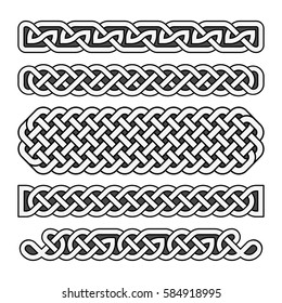 Celtic knots vector medieval borders set in black and white