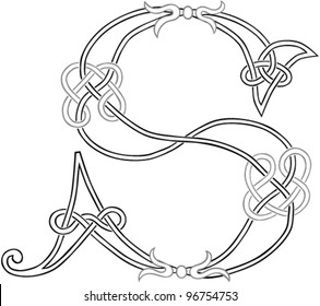 A Celtic Knot-work Capital Letter S Stylized Outline. Vector Version.
