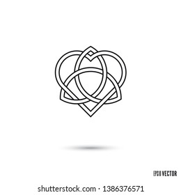 Celtic love knot, intertwined heart shape and triquetra symbol infinite ribbon outline vector illustration
