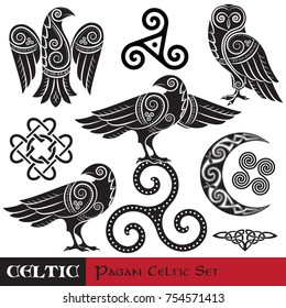 Celtic Magic set. Celtic horned Moon, Celtic Owl, Celtic Raven, isolated on white, vector illustration