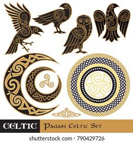 Celtic Magic set. Celtic horned Moon and Sun, Celtic Owl, Celtic Raven, isolated on white, vector illustration