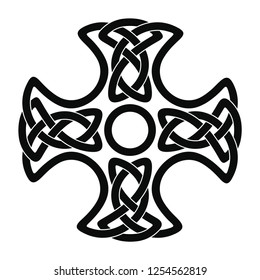 Celtic national cross with ornament interlaced ribbon isolated on white background. Element for graphic design and tattoo.