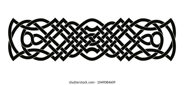 Celtic national ornament interlaced ribbon isolated on white background.