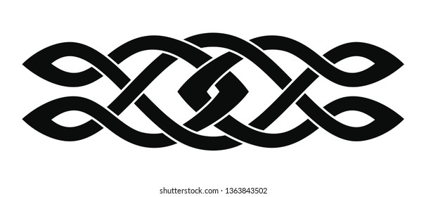 Celtic national ornament interlaced ribbon isolated on white background. Element for graphic design.