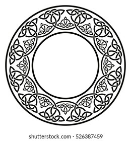 Celtic national ornament in the shape of a circle. Black ornament isolated on white background.