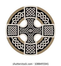 Celtic national ornament in the shape of a cross. White ornament on black background.