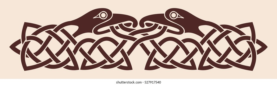 Celtic national ornament. Two birds looking at each other. Brown drawing on a beige background.