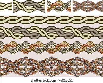 Celtic national ornaments of weaving in a vector for brushes