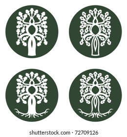 Celtic oak tree in circle with and without roots useful for ecological presentations