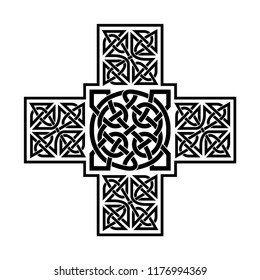 Celtic ornament in the form of a cross. Black ornament isolated on white background.