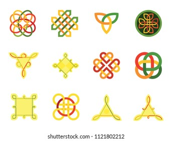 Celtic Ornament Icon Set. Infinite Knot Endless Knot Eternal Knot Buddhist Symbol Decorative Element Ornament Celtic Element Celtic Symbol Triqueta Celtic Shield