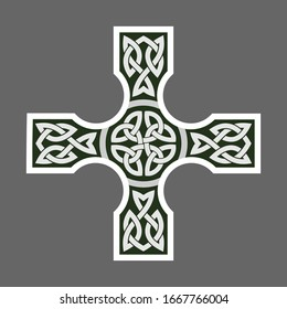 Celtic ornament in the shape of a cross. Isolated vector on a dark background.