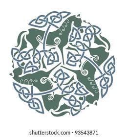"Celtic Ornament of three horses. Ancient symbol of ""Epona"", Celtic goddess of horses."
