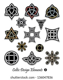 Celtic ornaments and embellishments for design and decoration. Useful for badges, t-shirts, tattoo, and many more creative uses.