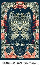 Celtic owl. Northern mythology celtic ornaments art, t-shirt design