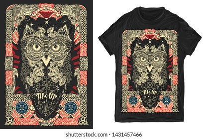 Celtic owl. Northern mythology ornaments print for t-shirts and another, trendy apparel design