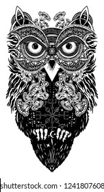 Celtic owl tattoo and t-shirt design