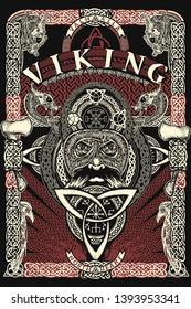 Celtic print. Barbarian warrior head. Viking slogan. Northern celtic mythology art, t-shirt design
