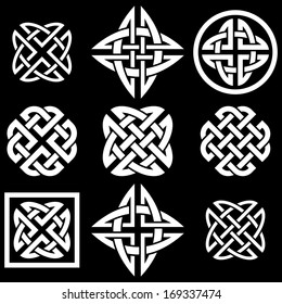 Celtic Quaternary knots set. Vector illustration.
