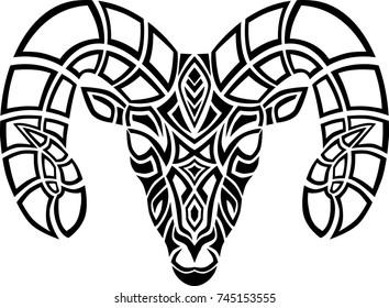 Celtic ram head tribal design