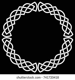 Celtic round frame, wreath or circle. White vector isolated image on a black background.