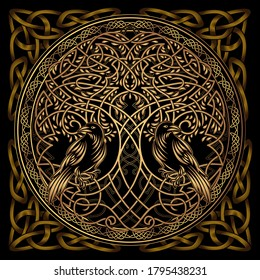 Celtic sacred symbols - Yggdrasil tree of life and totem birds raven Huginn and Muninn ravens of Odin