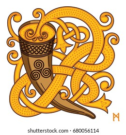 Celtic, Scandinavian design. Drinking horn with mead and woven pattern, isolated on white, vector illustration