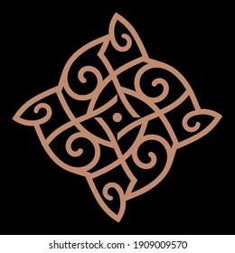 Celtic, Scandinavian knot-work illustration in retro style, isolated on black, vector illustration