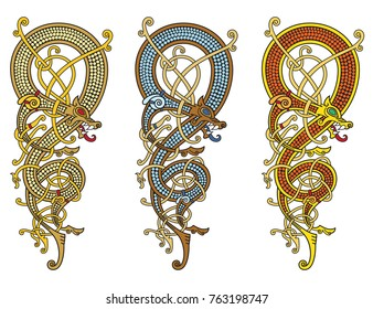 Celtic, Scandinavian vintage pattern is in the form of a twisted dragon, isolated on white, vector illustration