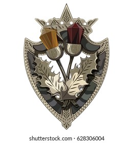 Celtic Scottish brooch in the shape of a shield with crown, Scottish Thistle adorned with stones like garnet and amber, isolated on white, vector illustration