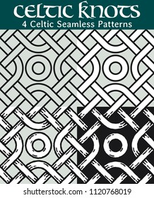 Celtic Seamless Patterns. 4 different versions of a seamless pattern with Celtic knots: with white filling, without filling, with shadows and with a black background.