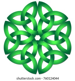 Celtic shamrock knot in circle. Symbol of Ireland.