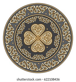 Celtic shield, decorated with a ancient European pattern, isolated on white, vector illustration