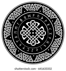 Celtic shield, decorated with a ancient European pattern and scandinavian runes, vector illustration