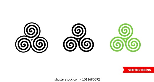 Celtic spiral icon of 3 types: color, black and white, outline. Isolated vector sign symbol.