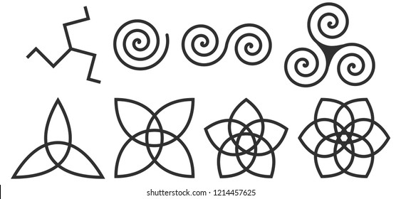 Celtic Spiral of Life triskelion and other Celtic patterns. Black isolated signs. Set of vector illustrations.  Symbolizes the repeatability and changeability of life cycles. Gothic signs triskele.