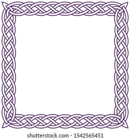 Celtic square frame color. Purple traditional folk pattern wicker.