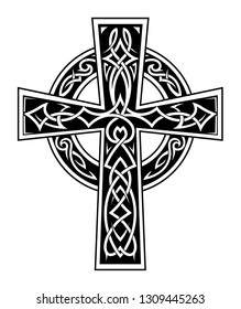 Celtic style cross tattoo with ethnic knot ornament