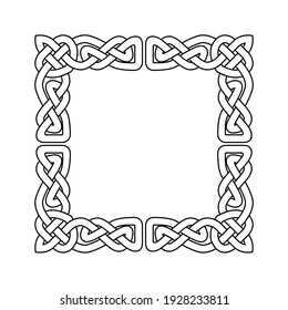 Celtic style square frame, border with scandinavian ornament, celtic corner interlaced tape, vector