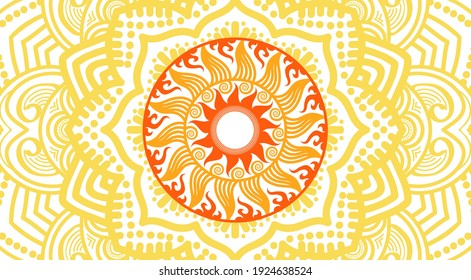 Celtic style tribal pattern on yellow and red color. Use it for package, logo or poster design.