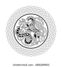 Celtic style tribal pattern with stylized horse and snake on black and white color. Use it for package, logo or poster design.