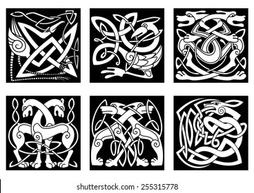 Celtic styled abstract animals and birds decorated ornament in traditional ethnic irish style on black background for tattoo or totem design