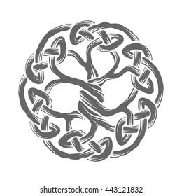 Celtic Tree of Life emblem isolated on white, Yggdrasil tree