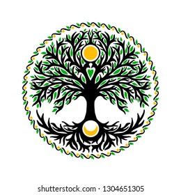 Celtic tree of life with sun and moon