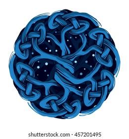 Celtic Tree of Life Yggdrasil, mystic night
