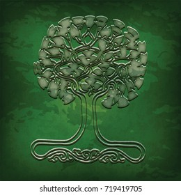 Celtic tree - World tree pattern from the north of Europe in green