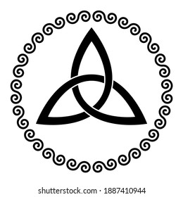 Celtic triangle knot in a circle frame shaped by double spirals. Basket wave knot, used in ancient Christian ornamentation in decorative border, made of double spirals. Illustration over white. Vector